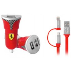 Ferrari Bundle Pack Dual USB Car Charger 2in1 Carbon Red (EU Blister)