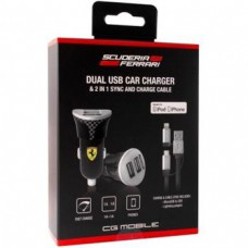 Ferrari Bundle Pack Dual USB Car Charger 2in1 Carbon Black (EU Blister)